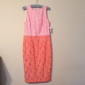 Maggy London color block pink and peach lace dress